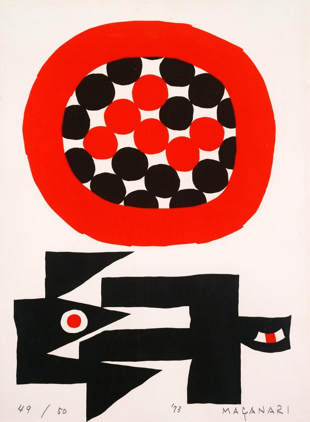 Masanari Murai, Sun and Bird, 68 x 49, 1973, silkscreen, 1025 CAD