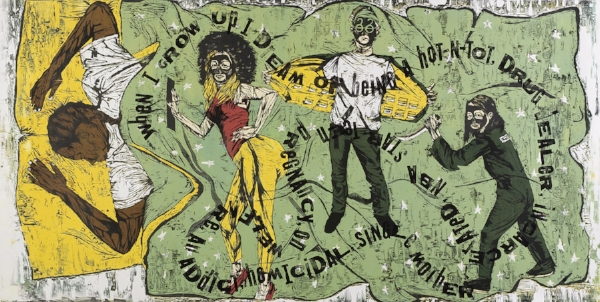"Katrina Andry, ""When I Grow Up: The Ascribed Black American Dream"", gravure sur bois en color reduction et images numériques, 2009. Katrina Andry, ""When I Grow Up: The Ascribed Black American Dream"", color reduction woodcut with digital image, 2009."