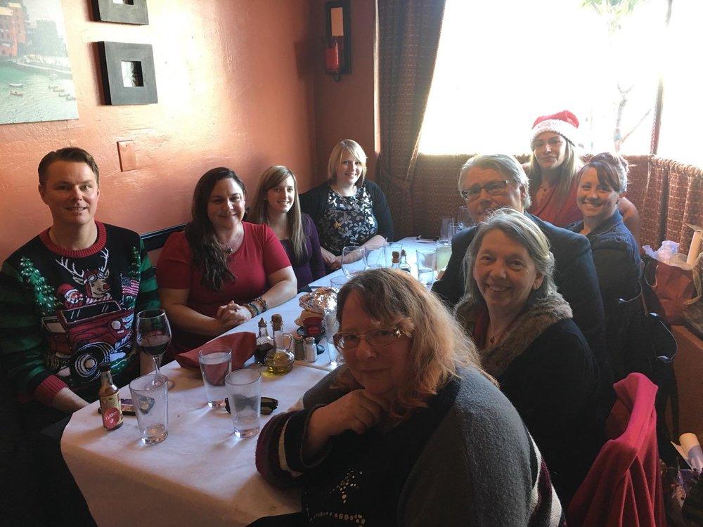2016 Gale & Nielsen Holiday Party, Clockwise from Left: Ryan Hurley; Tiffany Lopez; Cheyanne Hernandez; Crystal Dean; Dawn Robinson; Kendra McWilliams; Arthur Nielsen; Jeanne Gale; Julie VanBrackle