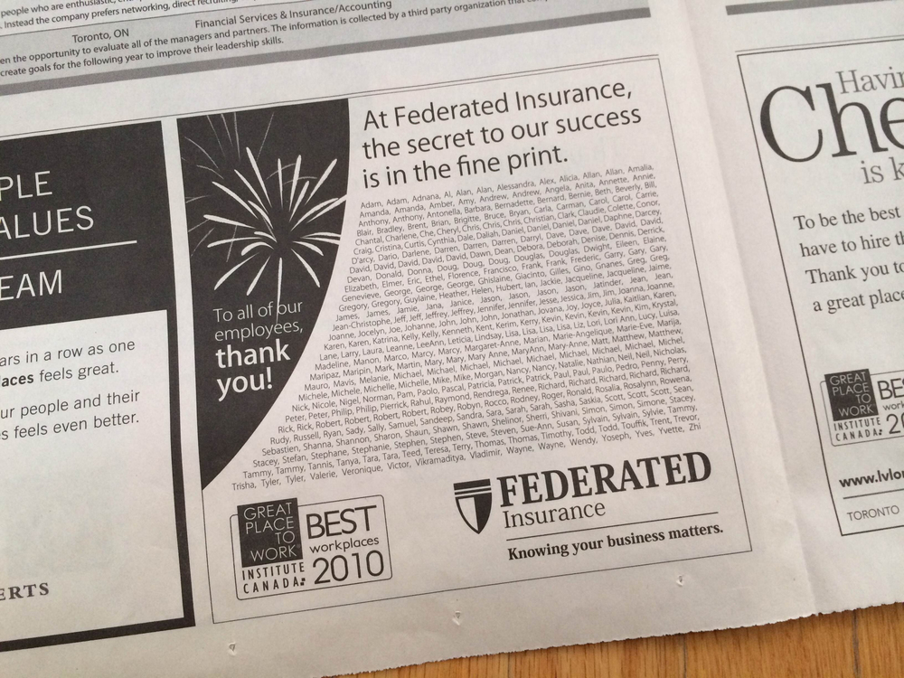 Globe & Mail Advertisement: Federated Insurance