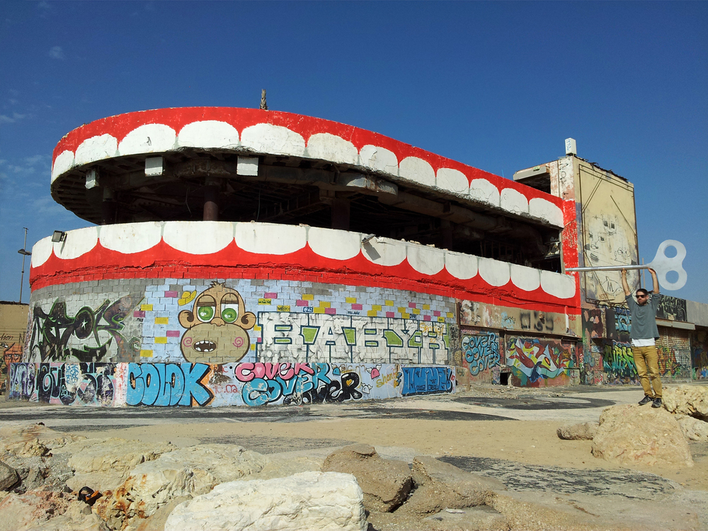 30m wide x 10m high piece, The abandoned Dolphinarium, Tel-Aviv, 2015