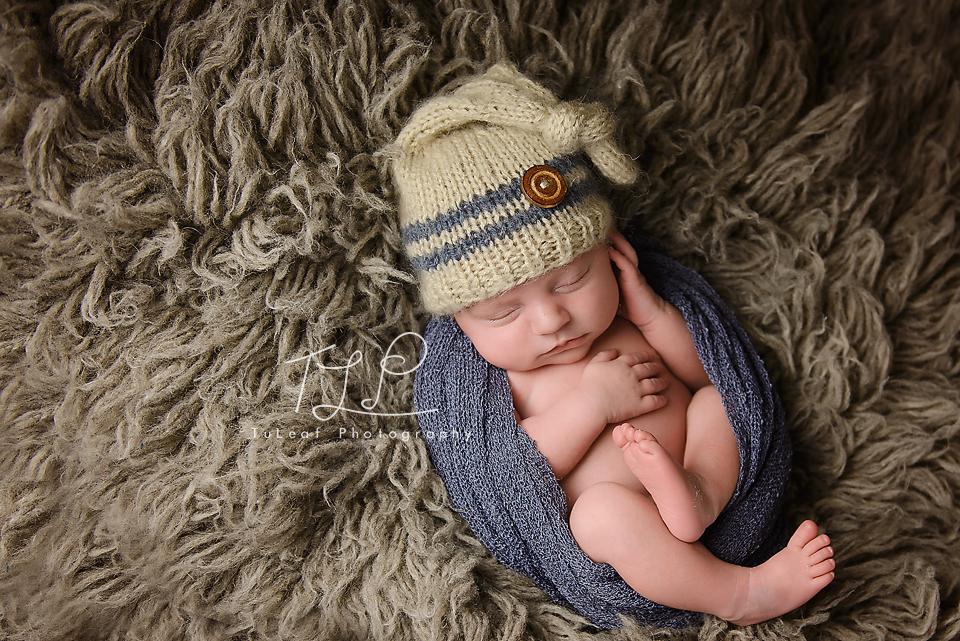 albany newborn photo denim wrap and hat