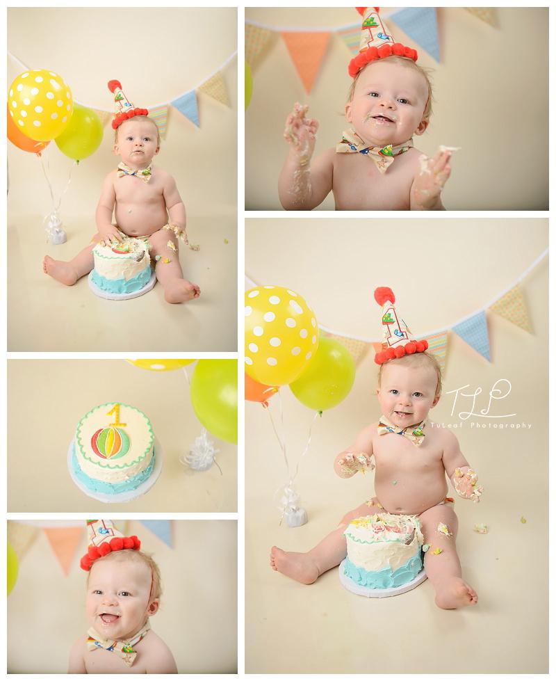 Cake Smash Photographer Albany NY baby boy smashing