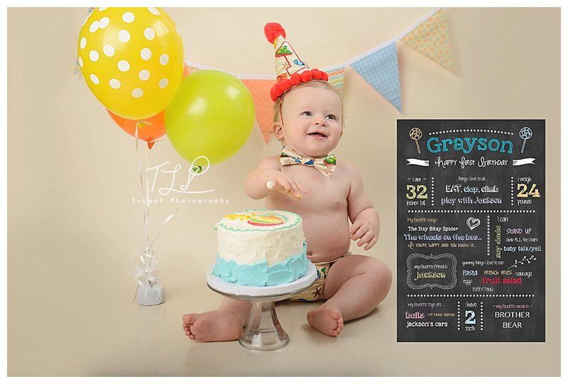 Albany NY Cake Smash Photographer baby boy chalkboard