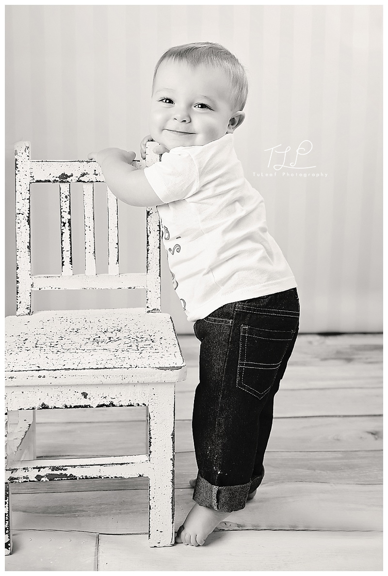 albany baby photo boy standing on chair