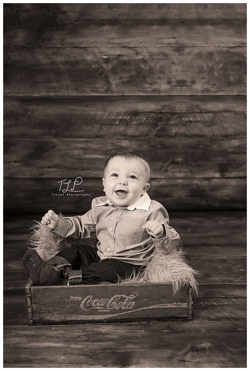 baby photo coke crate