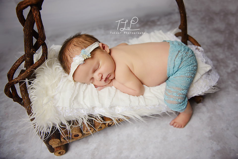 newborn photography albany baby girl on brach bed