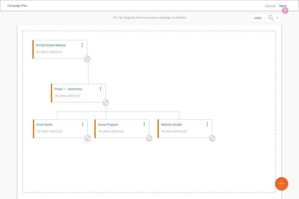 users can build out the full spectrum of a campaign phase, by linking items together.