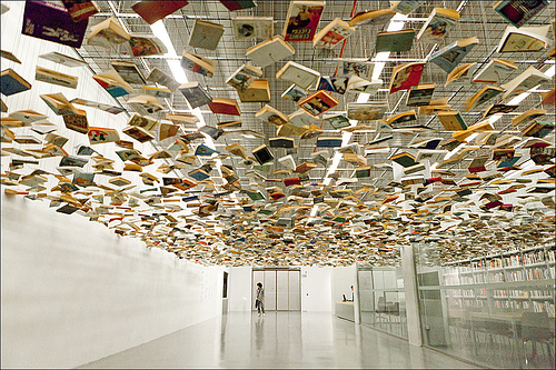 yearslater: Suspended books (by hanifoto)