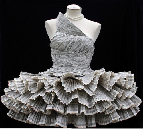 ilikeartalot: an entire dress has been crafted from paper alone.