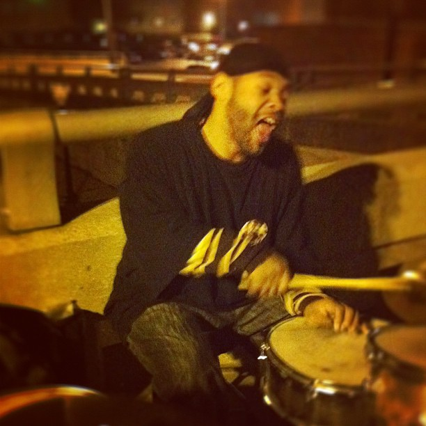 """mutemath: This fellow was just crushing his kit on a bridge in downtown Lansing, MI last night. He told me his name was Thurmon Clark aka """"The Switch"""".  (Taken with instagram)"""