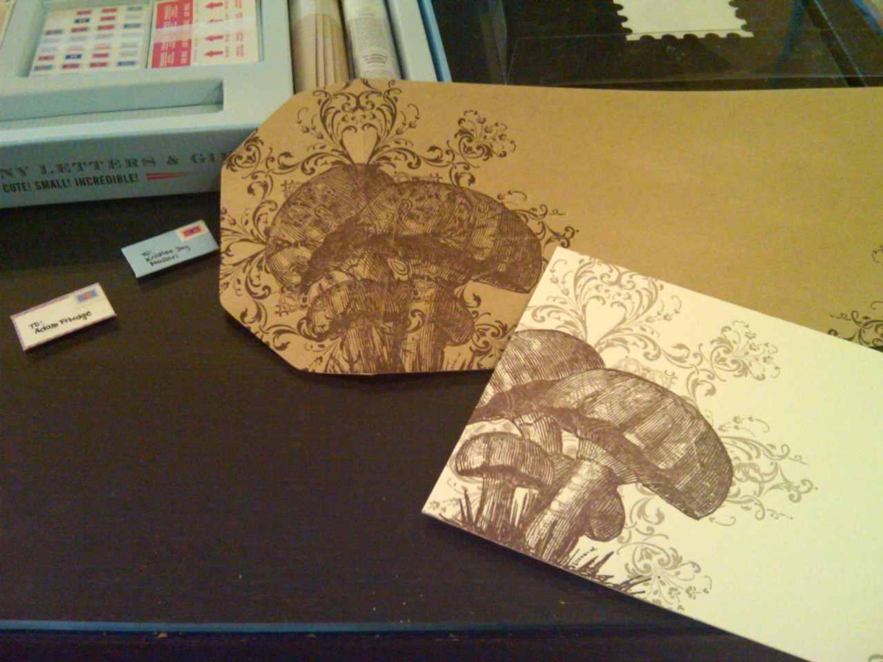 Writing letters… 2 tiny letters and letterpressed mushroom stationary!
