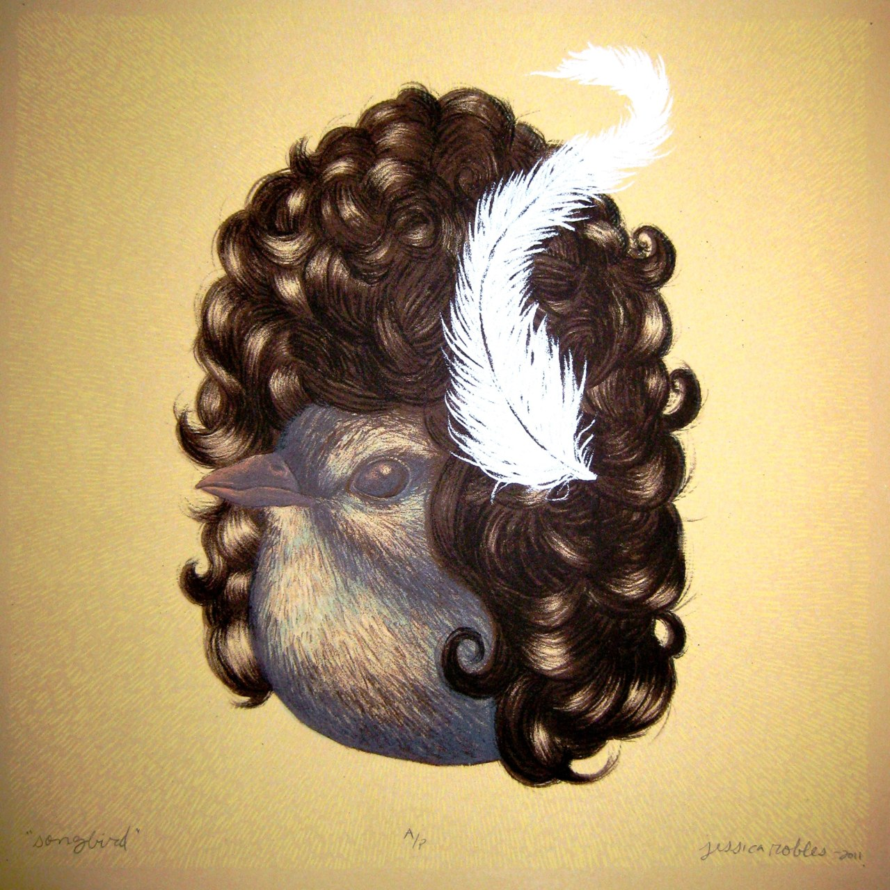 "littlefeets: ""Songbird"" Lithograph and Screenprint 12""x12"" Bump-It Print Exchange"