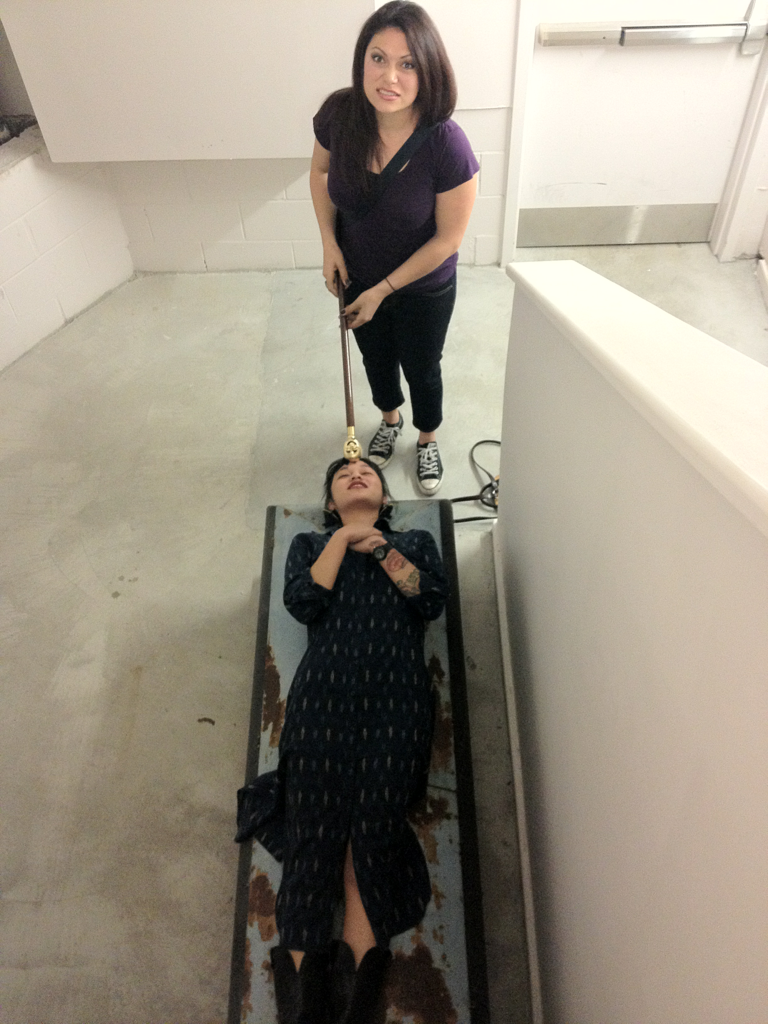 laurahdrapac: We found a coffin in a stairwell at a gallery, and Kristine Joy was the only one brave enough to touch it.