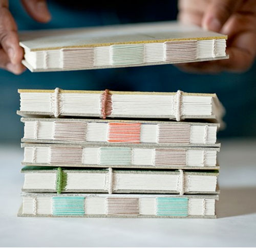 fuckyeahbookarts: Coptic-stitch sketchbooks with exposed-binding (Artist?)