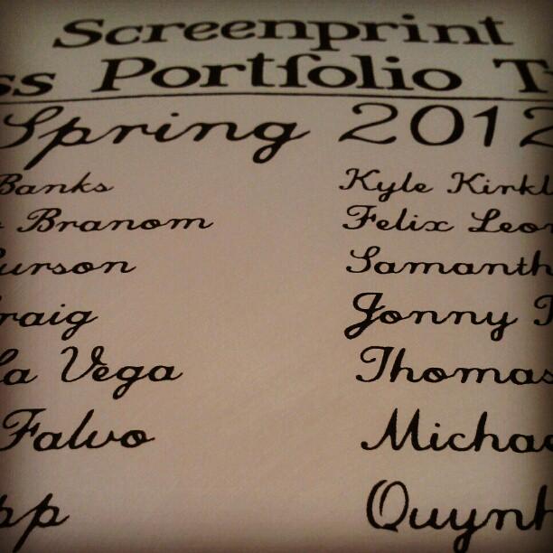 Prepping stencil for class portfolio trade colophon. #screenprint #printmaking (Taken with instagram)