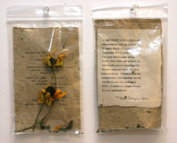 """fuckyeahbookarts: Memory and a Dream - Poem in a Bag Poem printed using a Chandler Price press on handmade paper containing wild flowers, flax and abaca. Made in conjunction with """"A Memory and a Dream"""" installation."""