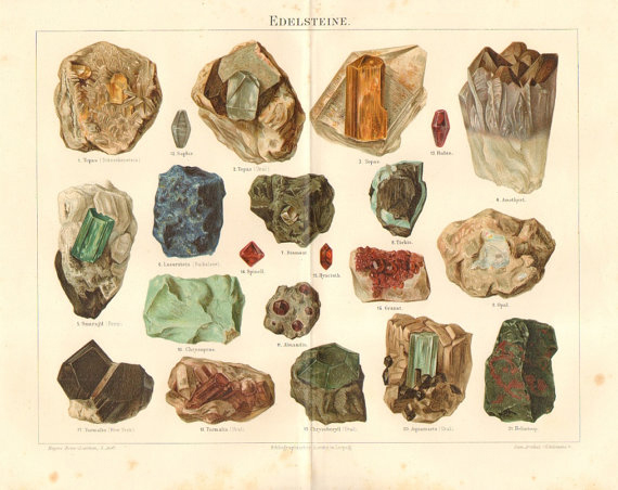 rainbrolly: Vintage crystals -chromolithograph