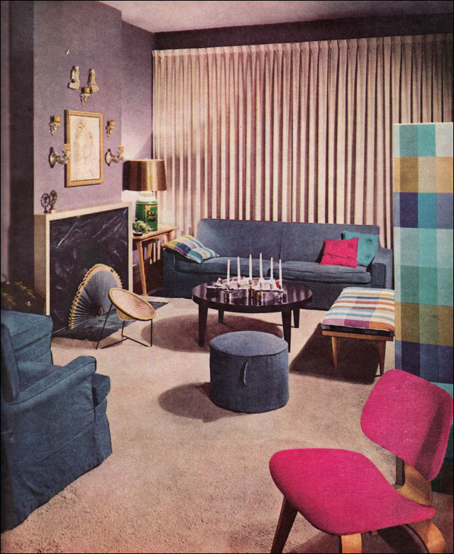 theniftyfifties: A stylish 1957 living room.