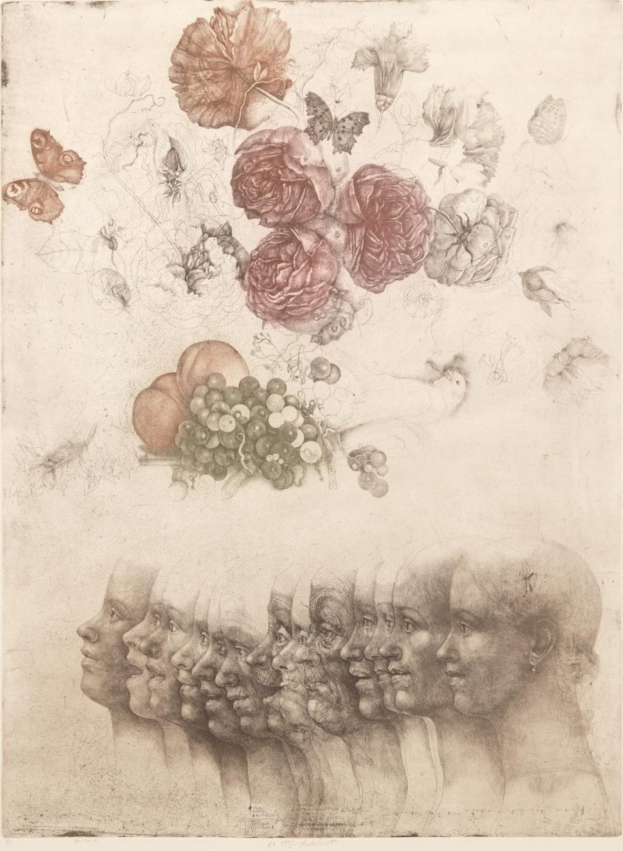 iamjapanese: Jiří Anderle(Czech, b.1936) Vanitas IX 1984 Drypoint, Print, Soft Ground Etching