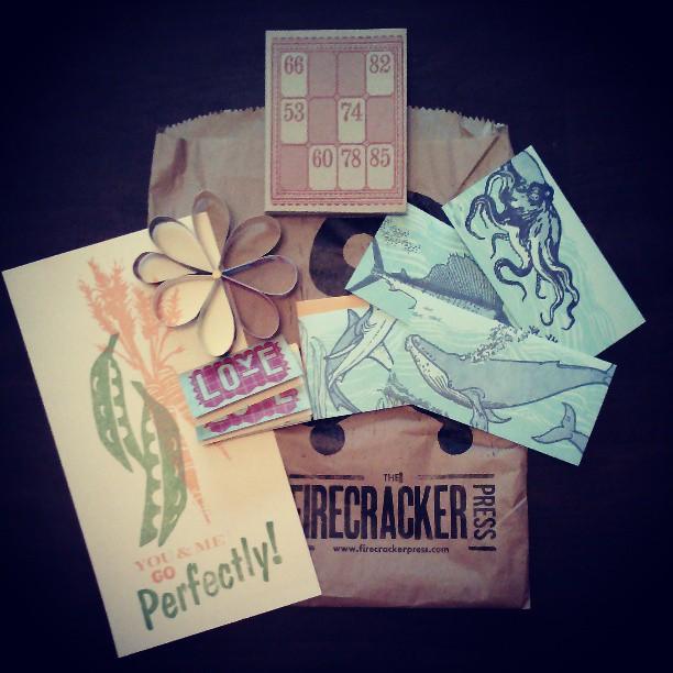 More #letterpress fun! Gifts from @ucfmike62's work trip in STL last week! @firecrackerp goodies!