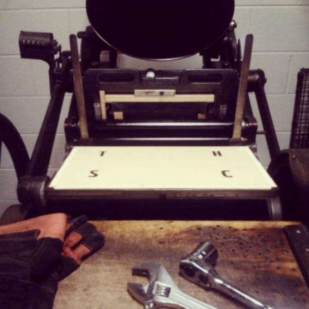 Leveling the platen… First printing tests! #letterpress