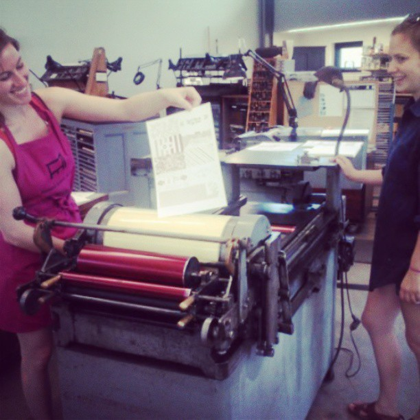 """We're Vandercookin now!"" With Marianne and Mac @penlandprint #letterpress (at Penland School Of Crafts)"
