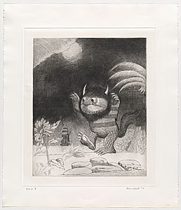 printeresting: Wild thing, state one, an intaglio print by Maurice Sendak R.I.P.