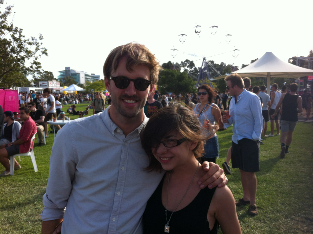 """If it makes you feel any better, I spewed out almost the exact same words when I ran into him at ACL. :/ unwoundfloors: Terrible photo of me, but I ran into Dan Whitford from Cut Copy at Future Music yesterday! For a music journalist who's spoken to plenty of famous people before, I really went full stupid. Couldn't get any words out aside from """"oh my God I love you guys!"""" WAHHHH."""
