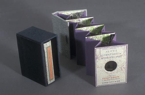 fuckyeahbookarts: A Peepshow Alice,mini tunnel books by Maryline Pool Adams, letterpress.