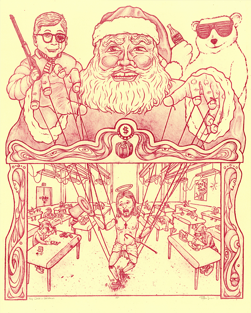 paytown: This is all about the commercialization of Christmas. Sweet tap dancing jesus! Feels good to be done with the semester finally. Oh yeah, this is a 1 color lithograph 2011