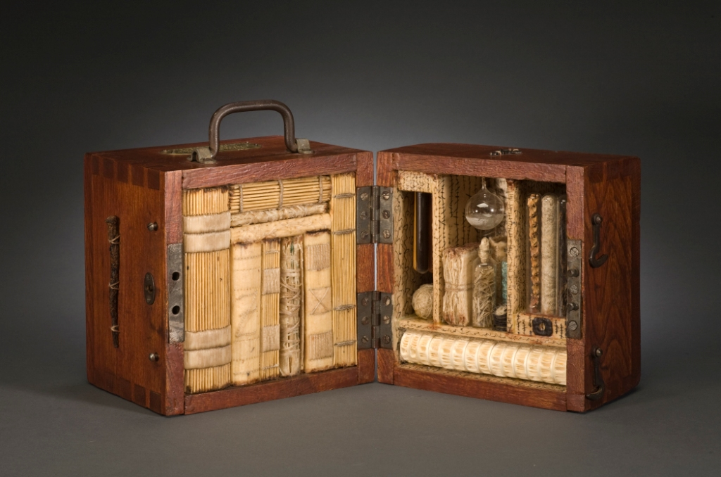 kristinejoymallari: Jody Alexander If She Thought It Would Help, Zelda Would Use Her Antediluvian Curse Cache to Attain Her Revenge wooden box, handmade kozo/gampi paper, wax, found objects, 2004