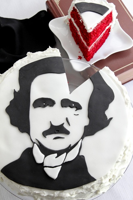 iheartclassics: Let's start the day off with some cake, shall we? Enjoy more of Heather Baird's creative concoctions at Sprinkle Bakes! sprinklebakes: Portrait of Poe in Red Velvet.