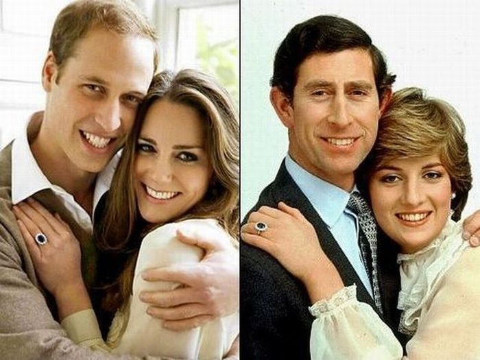 vintage-royalty: Picture on the left: Prince William and Catherine Middleton engagement picture, 2011 Picture on the right: Prince Charles and Princess Diana engagement picture, 1981