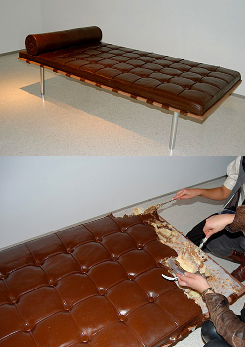 """szymon: chocolate couch by Leandro Erlich for an art-exhibit appropriately named """"Let Them Eat Art"""""""