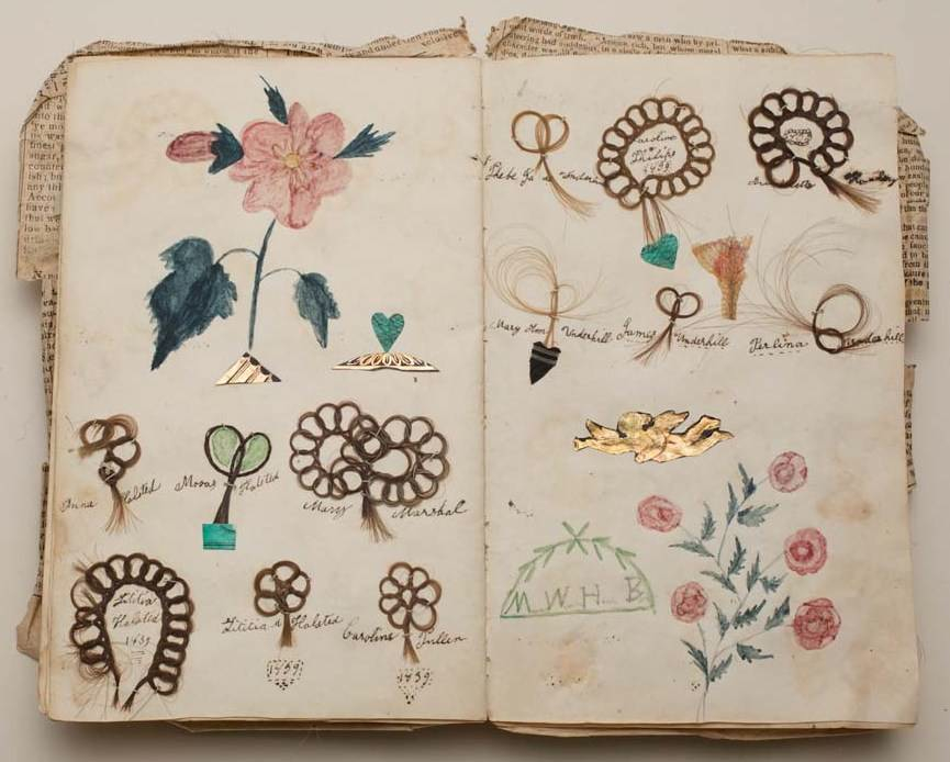 summerturban: Friendship album, Margaret Williams, 1839,Album with locks of hair sewn onto the pages in loops of stylized flowers with colored drawings of flowers