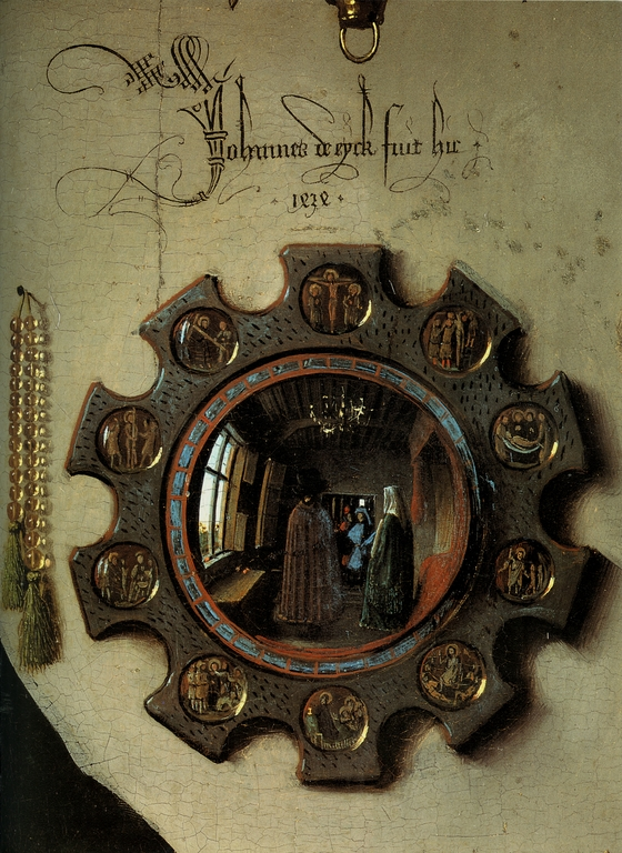 upthefolks: cavetocanvas: Detail from the Arnolfini Portrait - Jan van Eyck, 1434 From the National Gallery of Art's website: The ornate Latin signature translates as 'Jan van Eyck was here 1434'. The similarity to modern graffiti is not accidental. Van Eyck often inscribed his pictures in a witty way. The mirror reflects two figures in the doorway. One may be the painter himself. Arnolfini raises his right hand as he faces them, perhaps as a greeting. Yes. Jan Van Eyck: original gangster.  seriously though, the amount detail in this painting is viscerally upsetting