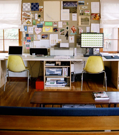 workspaces: The home studio of design practice Scout Regalia | via Design*Sponge Love it. They even have a naked teepee in their backyard.