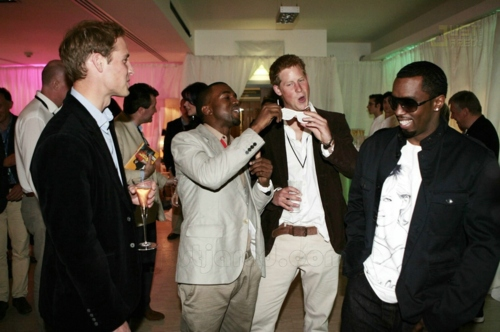 yourroyal-highness: Prince William and Prince Harry in a party with P. Diddy and Kanye West ♔