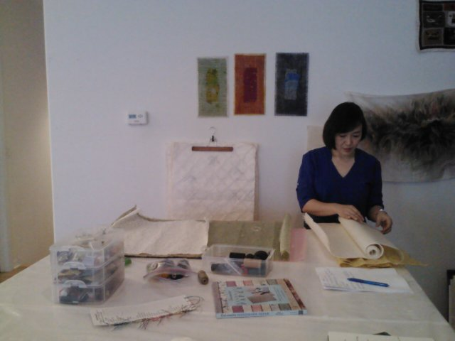 Hye showing us delicate and gorgeous papers from Korea.