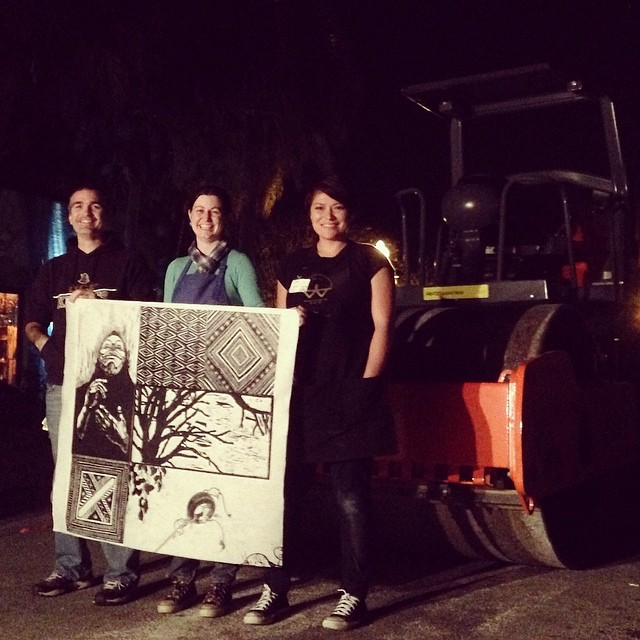 Chris Ware, Whitney Broadaway and me with our collaborative print at the end of the night. Photo credit: Chris Ware