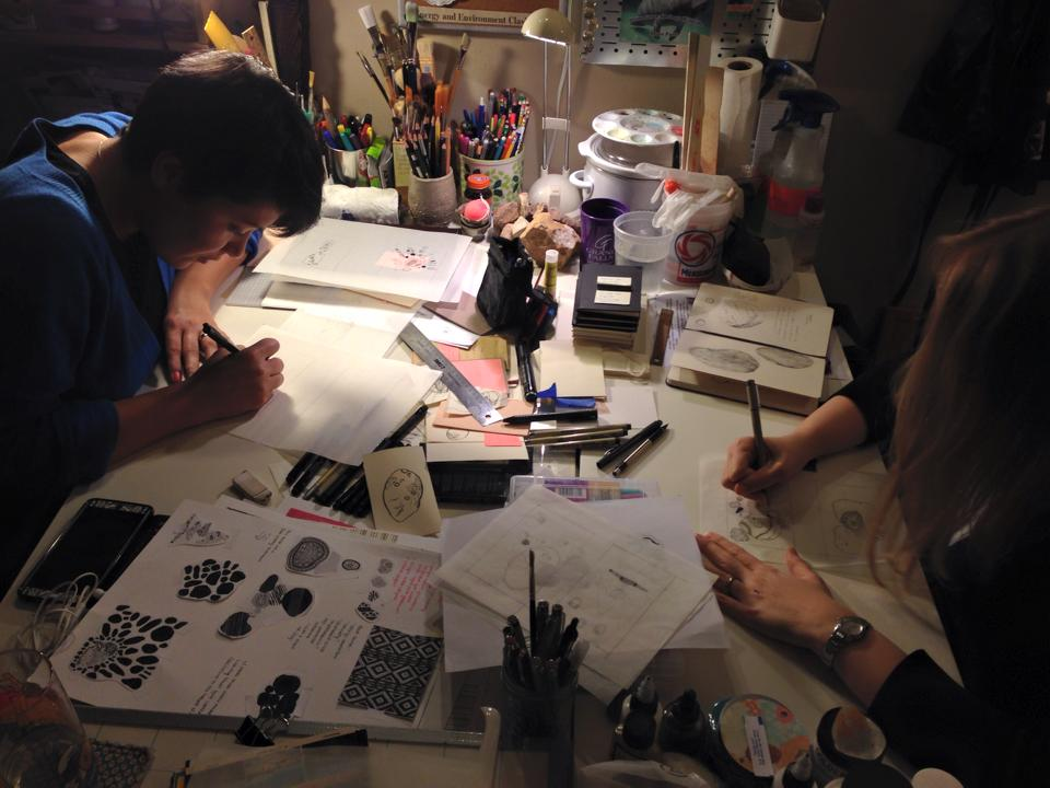 Nicole and I drawing in her home studio. Photo taken by: Travis Kroh Photo courtesy: Nicole Geary