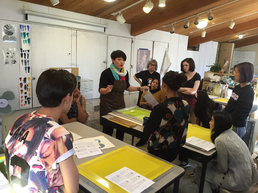 Day 1 of my screenprint workshop at Idyllwild Arts Academy. Photo credit: Linda Lucia Santana.