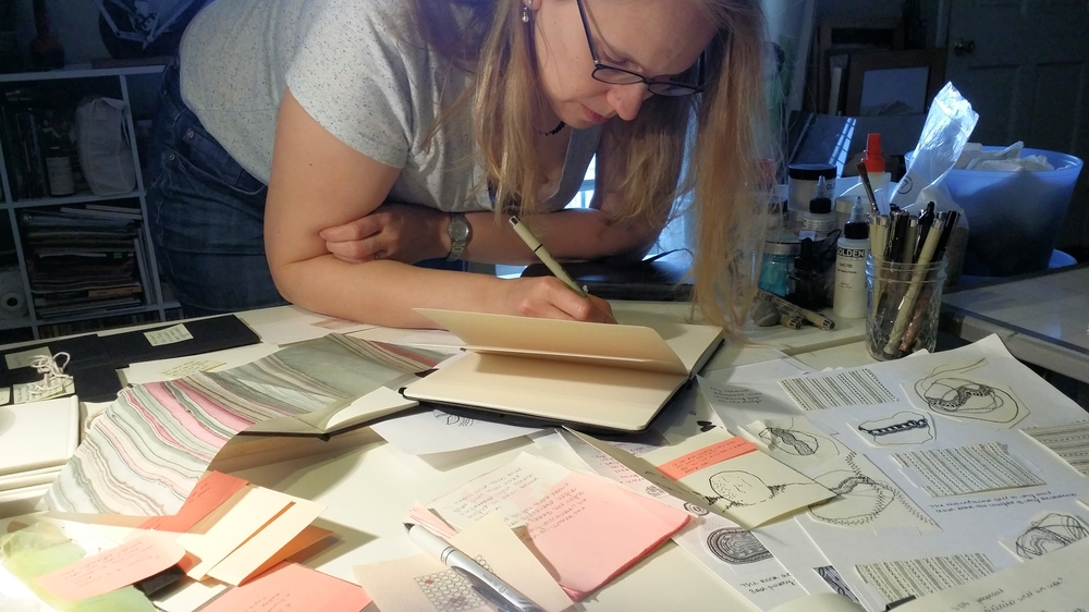 Nicole sketching an idea during our drawing day in her home studio, December 2014.
