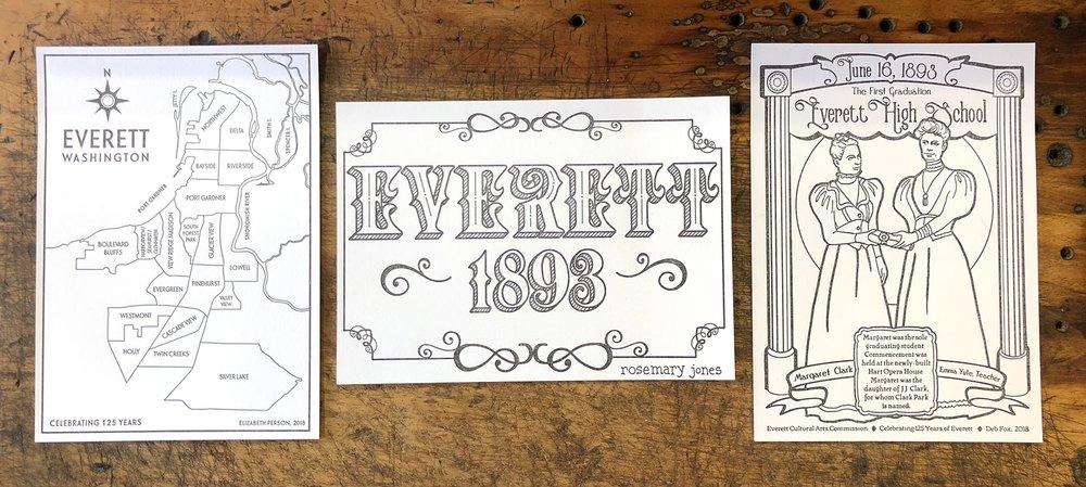 Everett 125th Celebration illustrations by (L-R) Elizabeth Person, Rosemary Jones, Deb Fox.