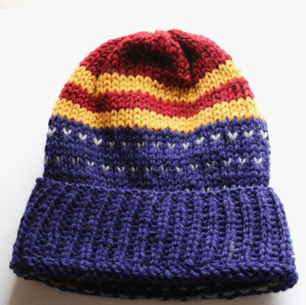The Wonder Hat  made of vintage acrylic and a blend of hand- and machine-dyed Peruvian Highland Wool.