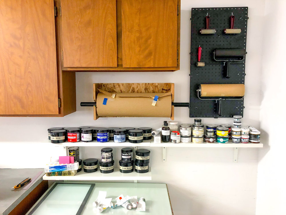 Freshly installed inking station! For mixing inks and inking up printing blocks for letterpress, woodcuts and monotypes.