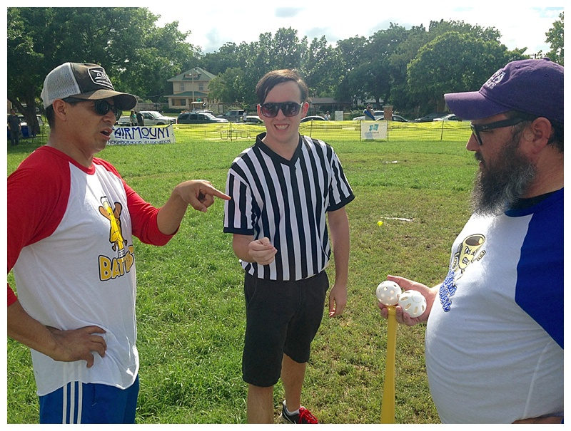 BEER BATTERS CAPTAIN FRANCISCO TABAR & BEAN MONSTERS CAPTAIN GAROLD LaRUE SQUARE OFF FOR THE COIN TOSS.
