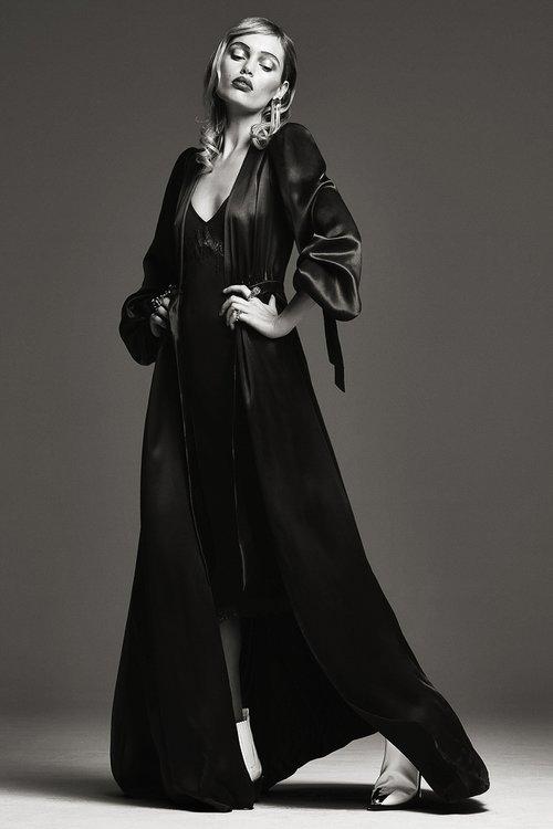 CR Fashion Book - Staz Lindes Photographer Bjorn Iooss , stylist Carine Roitfeld with Angela Friedman silk robe