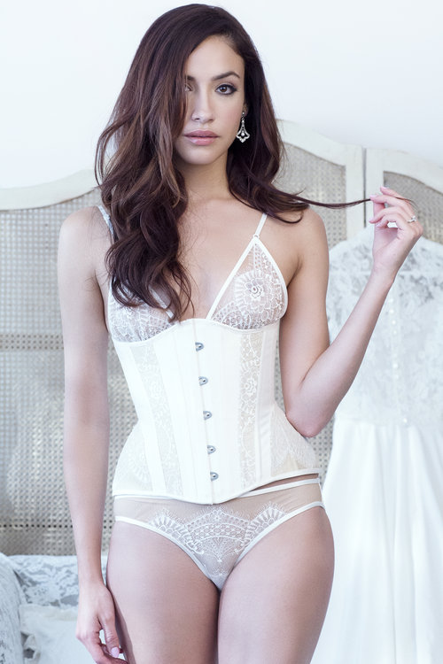 Angela Friedman real steel-boned corsetry, lace corsets and waist cinchers, underbust white silk corset